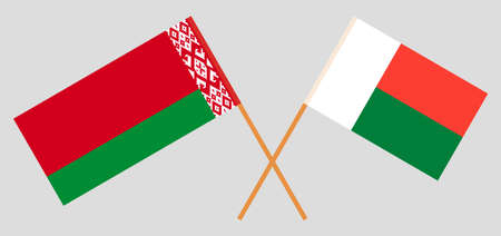 Crossed flags of Madagascar and Belarus. Official colors. Correct proportion. Vector illustration Çizim
