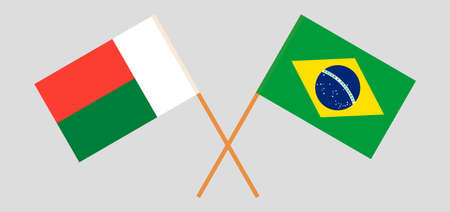 Crossed flags of Madagascar and Brazil. Official colors. Correct proportion. Vector illustration Çizim