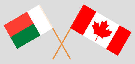 Crossed flags of Madagascar and Canada. Official colors. Correct proportion. Vector illustration