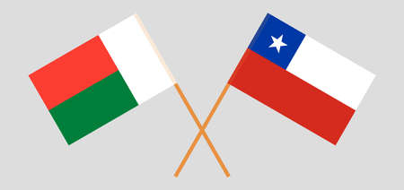 Crossed flags of Madagascar and Chile. Official colors. Correct proportion. Vector illustration Çizim