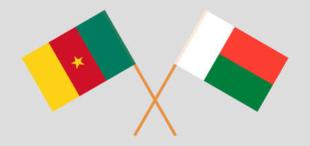 Crossed flags of Madagascar and Cameroon. Official colors. Correct proportion. Vector illustration Çizim