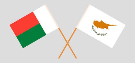 Crossed flags of Madagascar and Cyprus. Official colors. Correct proportion. Vector illustration