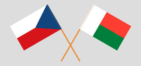 Crossed flags of Madagascar and Czech Republic. Official colors. Correct proportion. Vector illustration