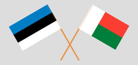 Crossed flags of Madagascar and Estonia. Official colors. Correct proportion. Vector illustration