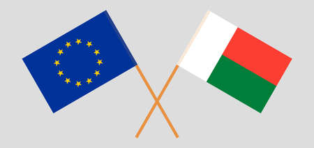 Crossed flags of Madagascar and the EU. Official colors. Correct proportion. Vector illustration Çizim