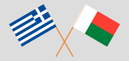 Crossed flags of Madagascar and Greece. Official colors. Correct proportion. Vector illustration Çizim