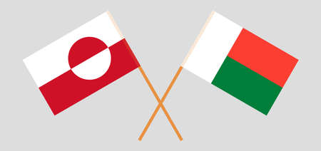 Crossed flags of Madagascar and Greenland. Official colors. Correct proportion. Vector illustration