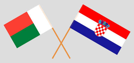 Crossed flags of Madagascar and Croatia. Official colors. Correct proportion. Vector illustration