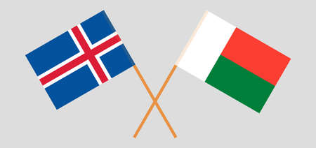 Crossed flags of Madagascar and Iceland. Official colors. Correct proportion. Vector illustration Çizim