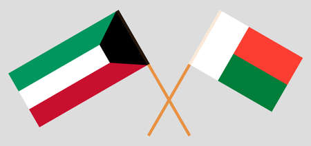 Crossed flags of Madagascar and Kuwait. Official colors. Correct proportion. Vector illustration