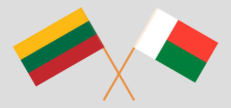 Crossed flags of Madagascar and Lithuania. Official colors. Correct proportion. Vector illustration Çizim