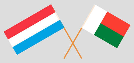 Crossed flags of Madagascar and Luxembourg. Official colors. Correct proportion. Vector illustration Çizim