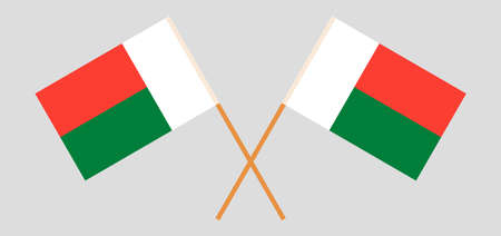Crossed flags of Madagascarr. Official colors. Correct proportion. Vector illustration