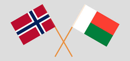 Crossed flags of Madagascar and Norway. Official colors. Correct proportion. Vector illustration Çizim