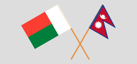 Crossed flags of Madagascar and Nepal. Official colors. Correct proportion. Vector illustration