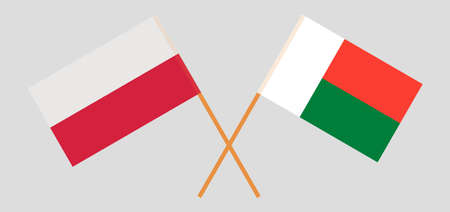 Crossed flags of Madagascar and Poland. Official colors. Correct proportion. Vector illustration