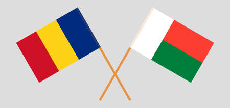 Crossed flags of Madagascar and Romania. Official colors. Correct proportion. Vector illustration
