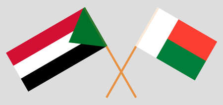 Crossed flags of Madagascar and Sudan. Official colors. Correct proportion. Vector illustration Çizim