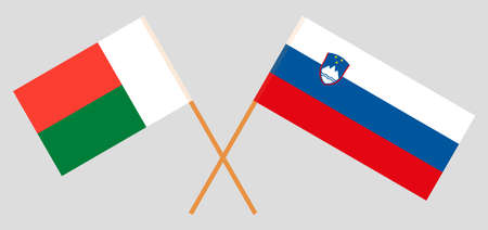 Crossed flags of Madagascar and Slovenia. Official colors. Correct proportion. Vector illustration Çizim