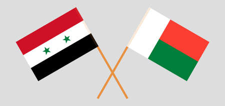 Crossed flags of Madagascar and Syria. Official colors. Correct proportion. Vector illustration Çizim