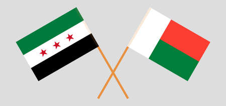 Crossed flags of Madagascar and Interim Government of Syria. Official colors. Correct proportion. Vector illustration