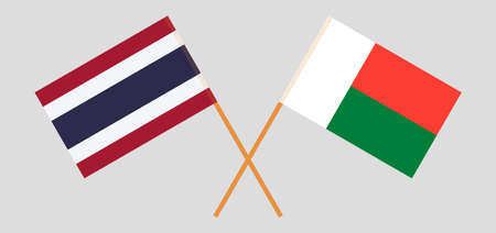 Crossed flags of Madagascar and Thailand. Official colors. Correct proportion. Vector illustration