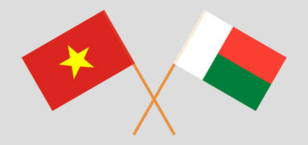 Crossed flags of Madagascar and Vietnam. Official colors. Correct proportion. Vector illustration