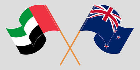 Crossed and waving flags of New Zealand and the United Arab Emirates. Vector illustration Çizim