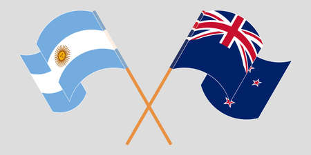 Crossed and waving flags of New Zealand and Argentina. Vector illustration