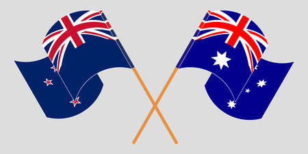 Crossed and waving flags of New Zealand and Australia. Vector illustration