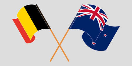 Crossed and waving flags of New Zealand and Belgium. Vector illustration Çizim