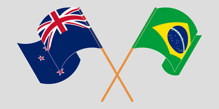 Crossed and waving flags of New Zealand and Brazil. Vector illustration