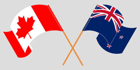 Crossed and waving flags of New Zealand and Canada. Vector illustration