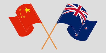 Crossed and waving flags of New Zealand and China. Vector illustration