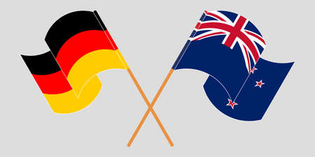 Crossed and waving flags of New Zealand and Germany. Vector illustration