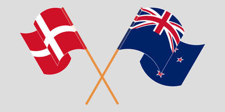 Crossed and waving flags of New Zealand and Denmark. Vector illustration