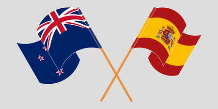 Crossed and waving flags of New Zealand and Spain. Vector illustration