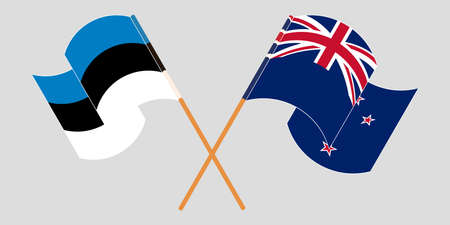 Crossed and waving flags of New Zealand and Estonia. Vector illustration