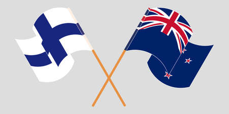 Crossed and waving flags of New Zealand and Finland. Vector illustration