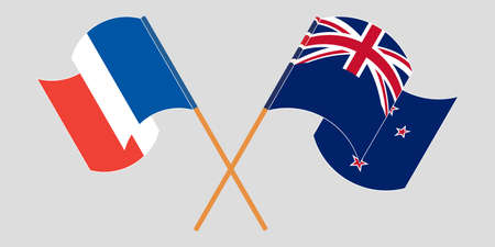Crossed and waving flags of New Zealand and France. Vector illustration