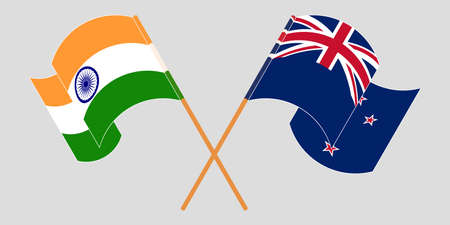 Crossed and waving flags of New Zealand and India. Vector illustration