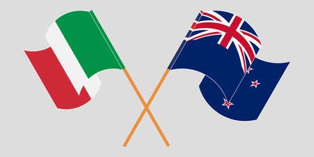 Crossed and waving flags of New Zealand and Italy. Vector illustration