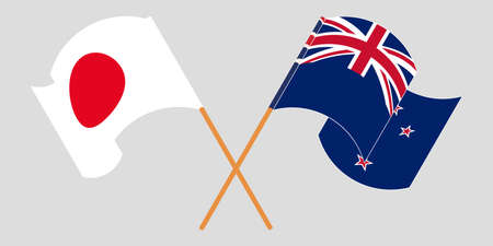 Crossed and waving flags of New Zealand and Japan. Vector illustration Çizim