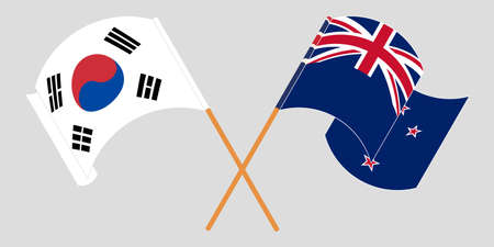 Crossed and waving flags of New Zealand and South Korea. Vector illustration Çizim