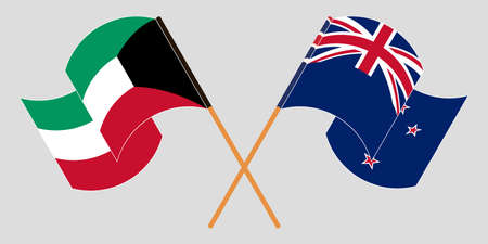 Crossed and waving flags of New Zealand and Kuwait. Vector illustration