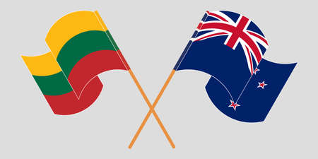 Crossed and waving flags of New Zealand and Lithuania. Vector illustration