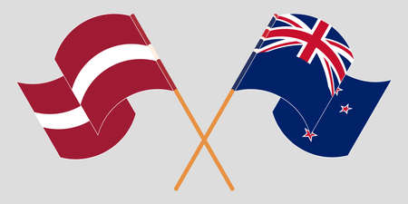 Crossed and waving flags of New Zealand and Latvia. Vector illustration