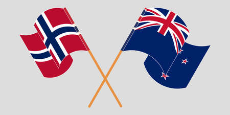 Crossed and waving flags of New Zealand and Norway. Vector illustration
