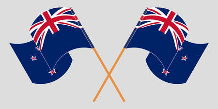 Crossed and waving flags of New Zealand. Vector illustration
