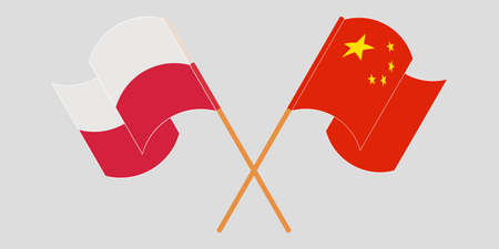 Crossed and waving flags of Poland and China. Vector illustration